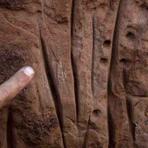 Rock grooves left by indigenous peoples